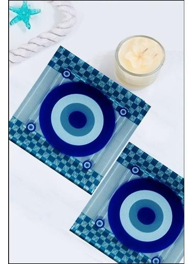 Kitchen Love 2 Adet Vitray Cam Nazar Desenli Gider Koruyucu-10Cm Renkli